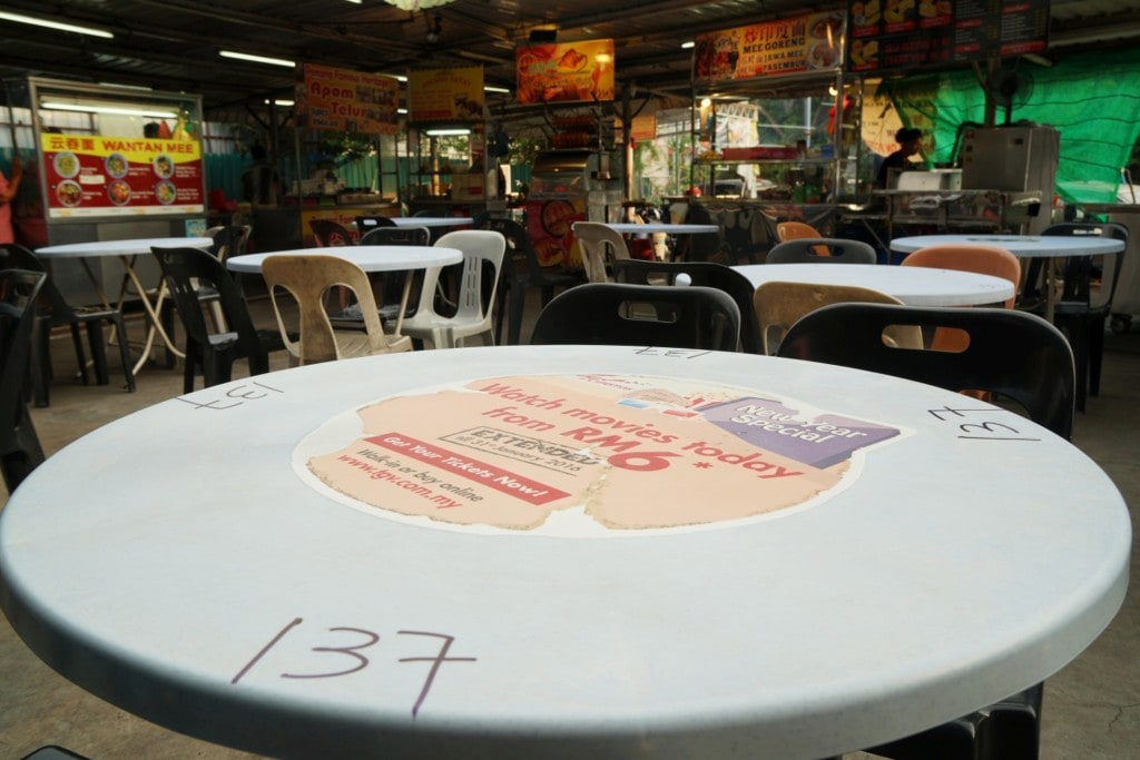 Hawker Center Tisch Nummer Penang