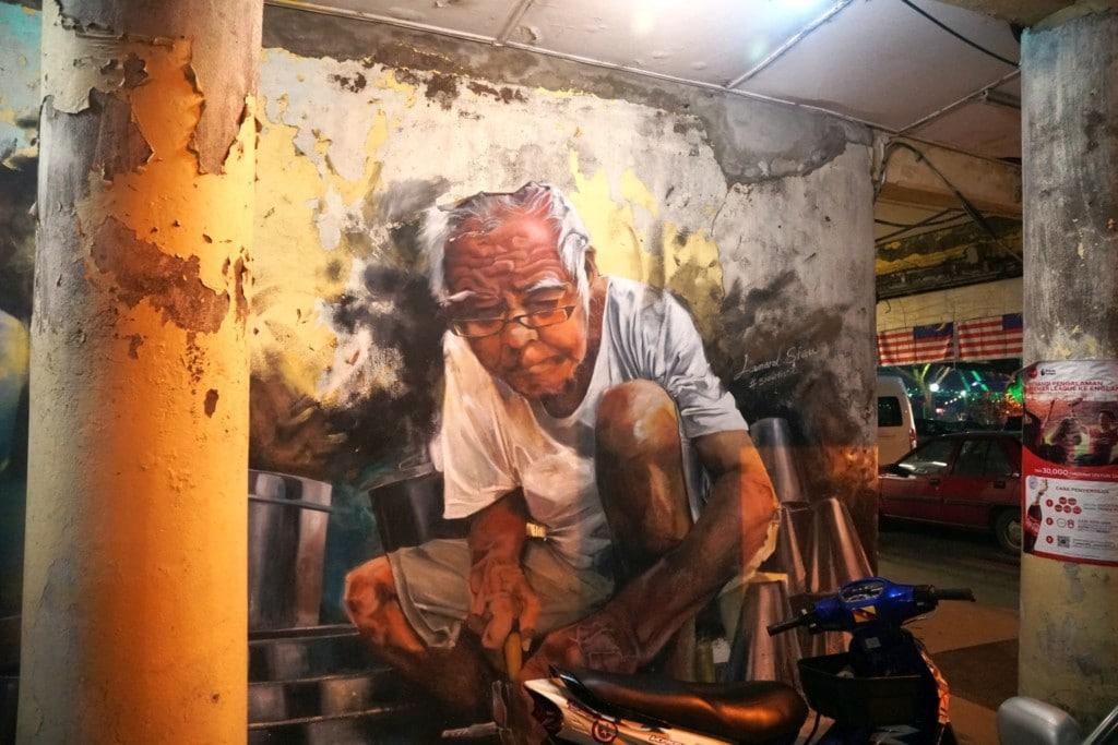 Kuching Street Art Blecharbeiter