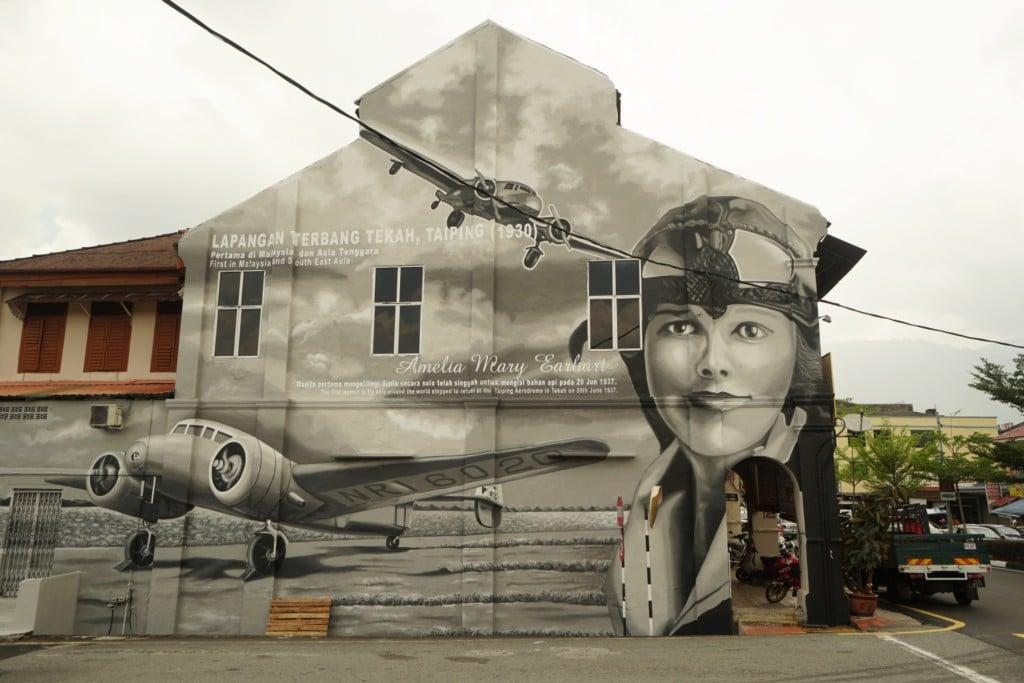 Amelia Earhart Street Art Taiping