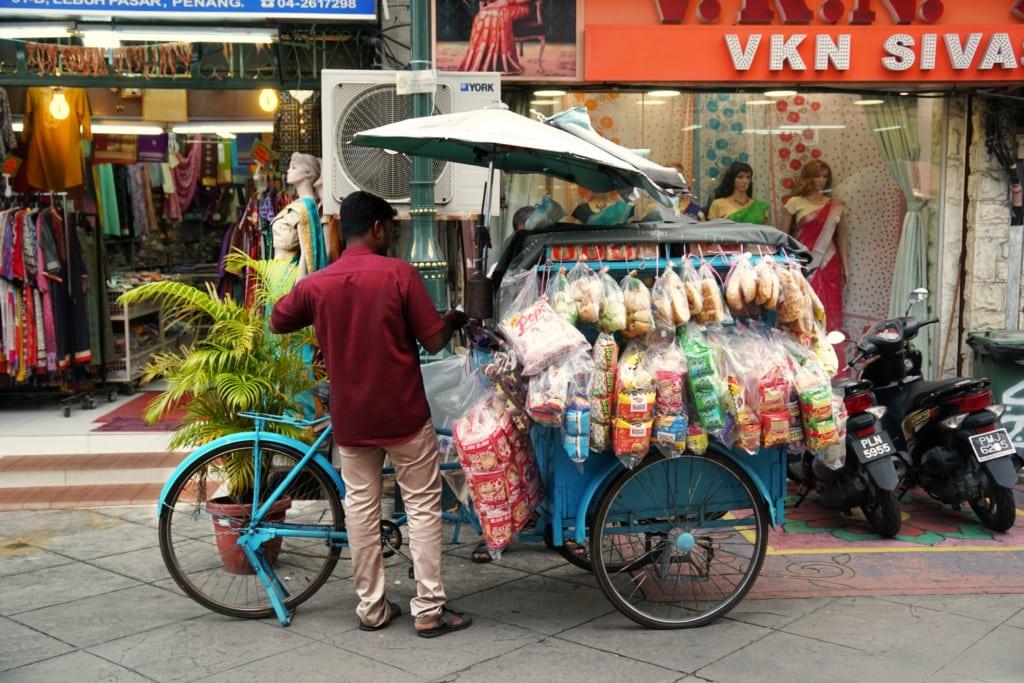 Little India Penang Fahrradverkäufer