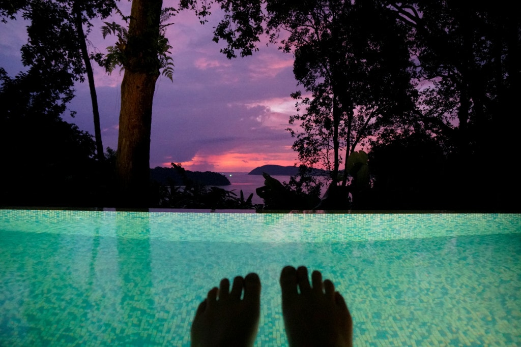 Sonnenuntergang vom Pool