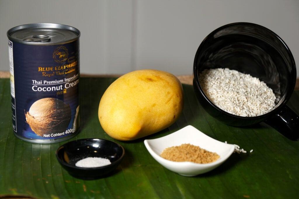 Zutaten für einen Mango Sticky Rice
