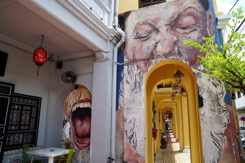 Streetart Penang großer Mund Jalan Muntri