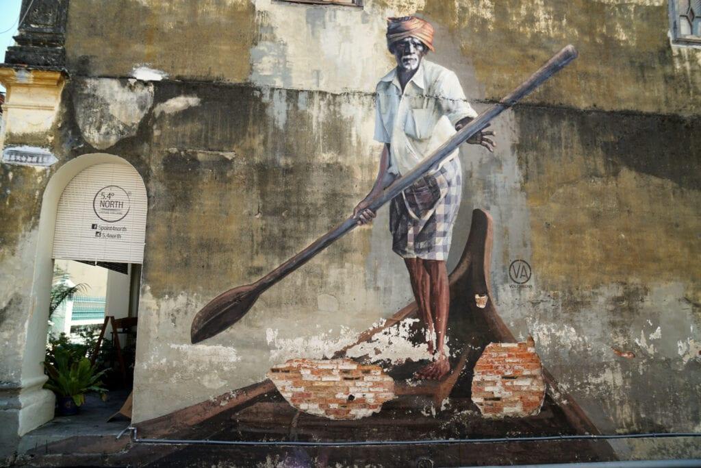 Streetart Penang Indischer Bootsmann